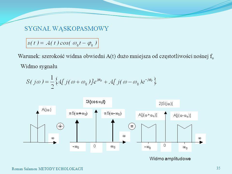 SYGNAŁ WĄSKOPASMOWY Warunek: szerokość widma obwiedni A(t) dużo mniejsza od częstotliwości nośnej f o Widmo sygnału Widmo amplitudowe 35 Roman Salamon METODY ECHOLOKACJI