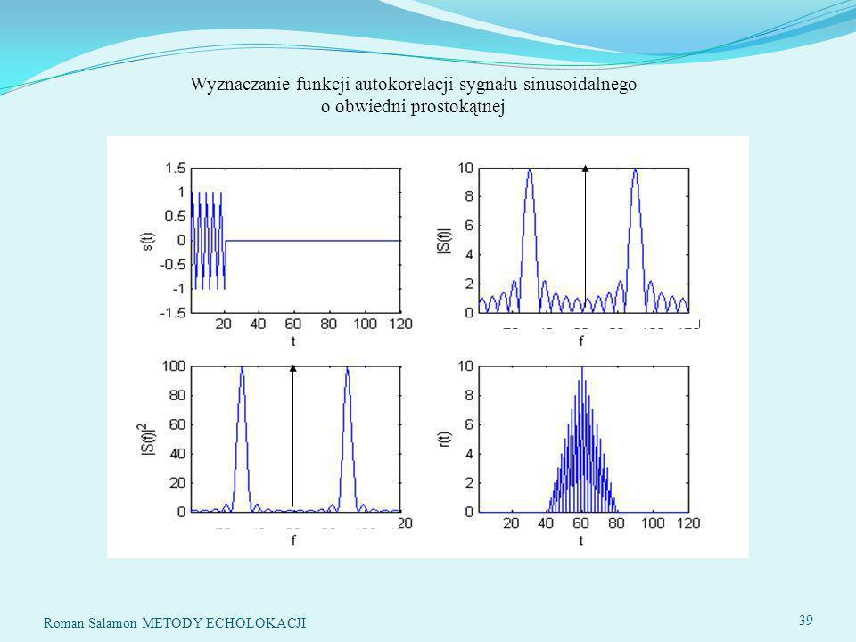 Wyznaczanie funkcji autokorelacji sygnału sinusoidalnego o obwiedni prostokątnej 39 Roman Salamon METODY ECHOLOKACJI