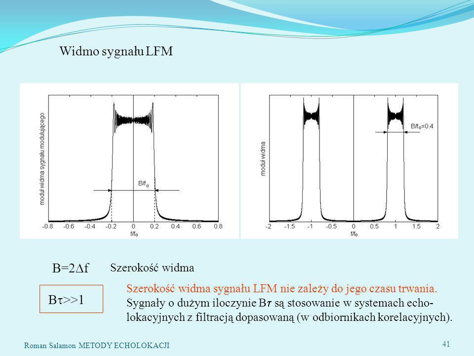 B=2 f Szerokość widma B >>1 Widmo sygnału LFM Szerokość widma sygnału LFM nie zależy do jego czasu trwania.