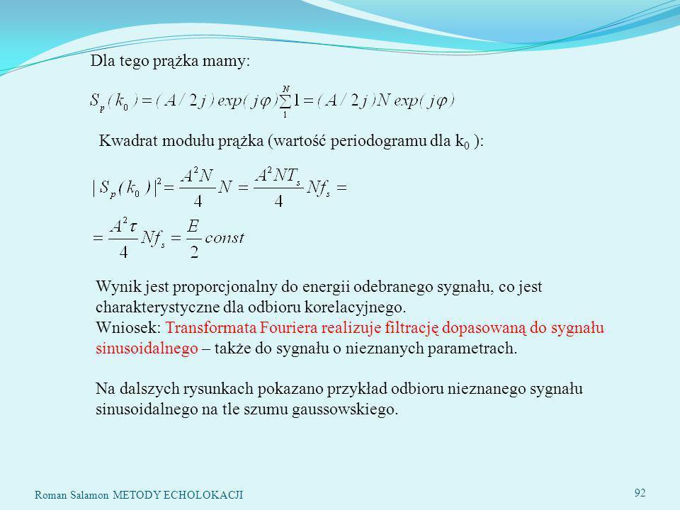 Dla tego prążka mamy: Kwadrat modułu prążka (wartość periodogramu dla k 0 ): Wynik jest proporcjonalny do energii odebranego sygnału, co jest charakterystyczne dla odbioru korelacyjnego.