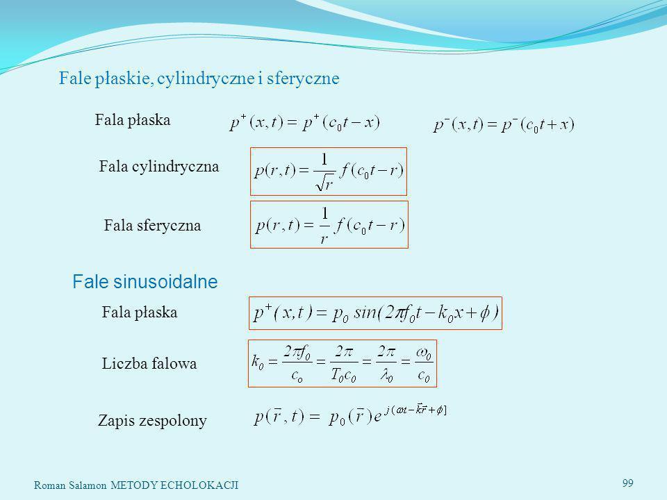 Roman Salamon METODY ECHOLOKACJI 99 Fale płaskie, cylindryczne i sferyczne Fala płaska Fala cylindryczna Fala sferyczna Fale sinusoidalne Fala płaska Liczba falowa Zapis zespolony