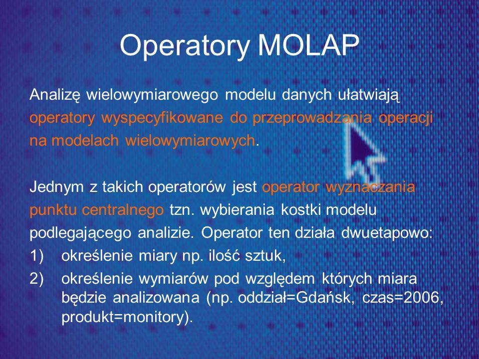 Operatory MOLAP Analizę wielowymiarowego modelu danych ułatwiają operatory wyspecyfikowane do przeprowadzania operacji na modelach wielowymiarowych. J