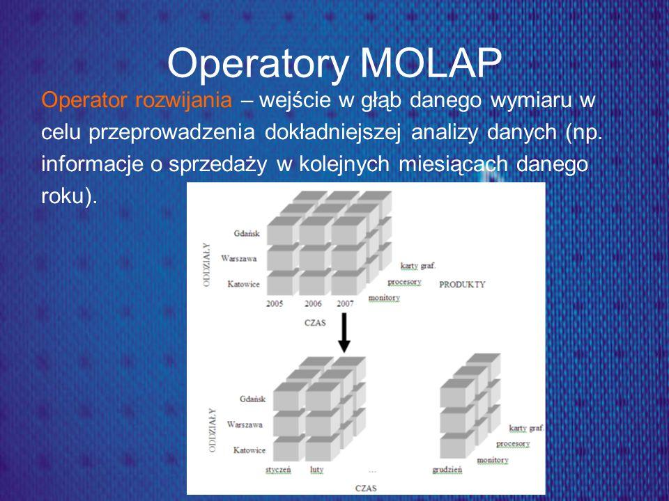 Operatory MOLAP Operator rozwijania – wejście w głąb danego wymiaru w celu przeprowadzenia dokładniejszej analizy danych (np. informacje o sprzedaży w