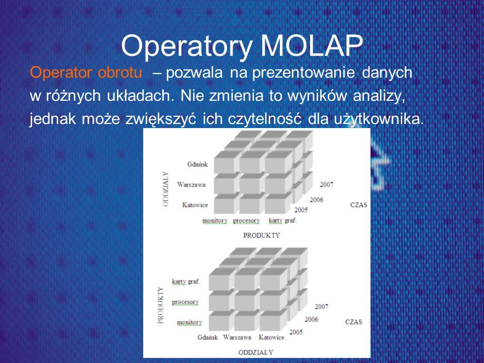 Operatory MOLAP Operator obrotu – pozwala na prezentowanie danych w różnych układach. Nie zmienia to wyników analizy, jednak może zwiększyć ich czytel