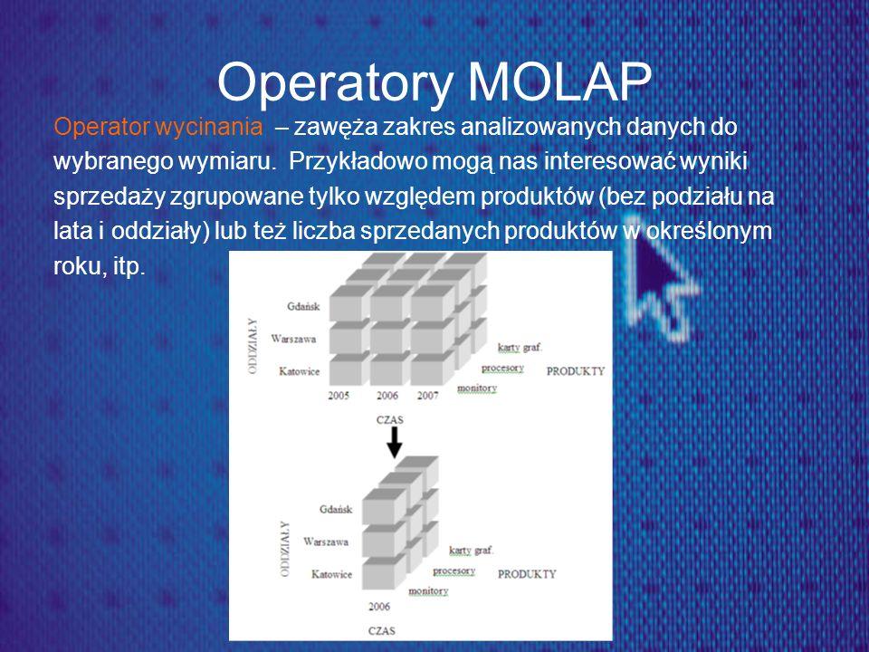 Operatory MOLAP Operator wycinania – zawęża zakres analizowanych danych do wybranego wymiaru. Przykładowo mogą nas interesować wyniki sprzedaży zgrupo