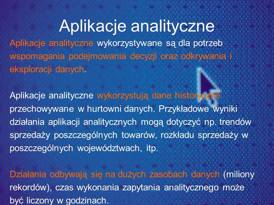 Aplikacje analityczne Aplikacje analityczne wykorzystywane są dla potrzeb wspomagania podejmowania decyzji oraz odkrywania i eksploracji danych. Aplik