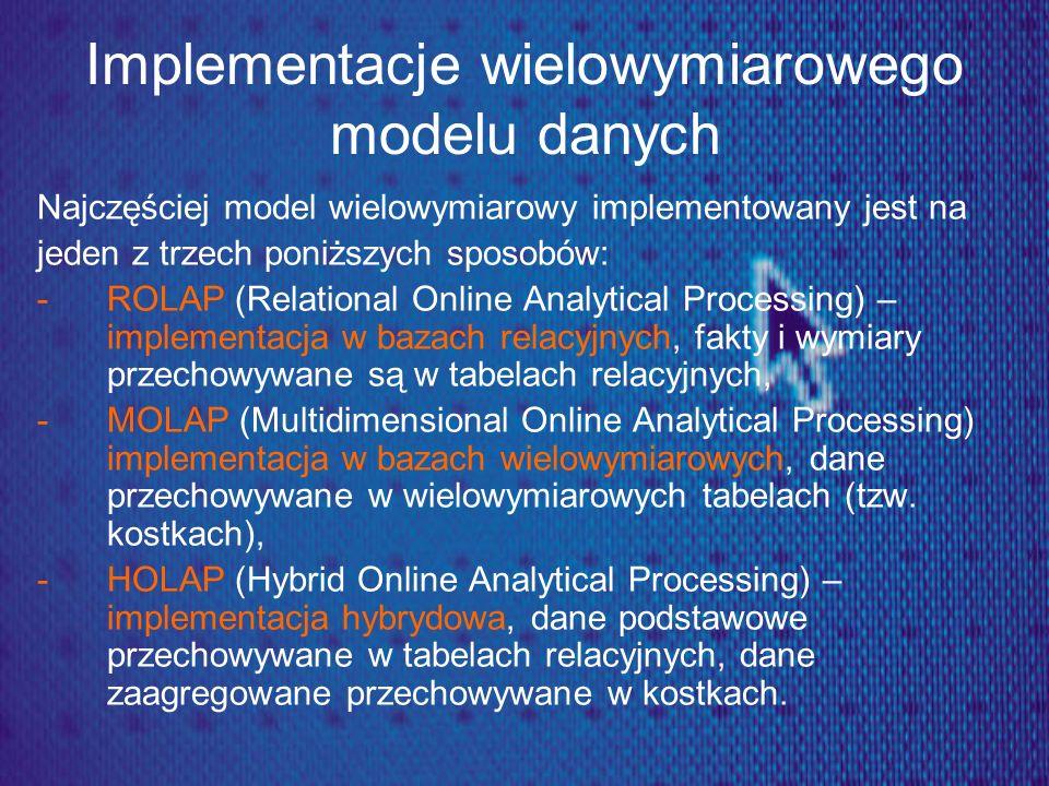 Implementacje wielowymiarowego modelu danych Najczęściej model wielowymiarowy implementowany jest na jeden z trzech poniższych sposobów: -ROLAP (Relat