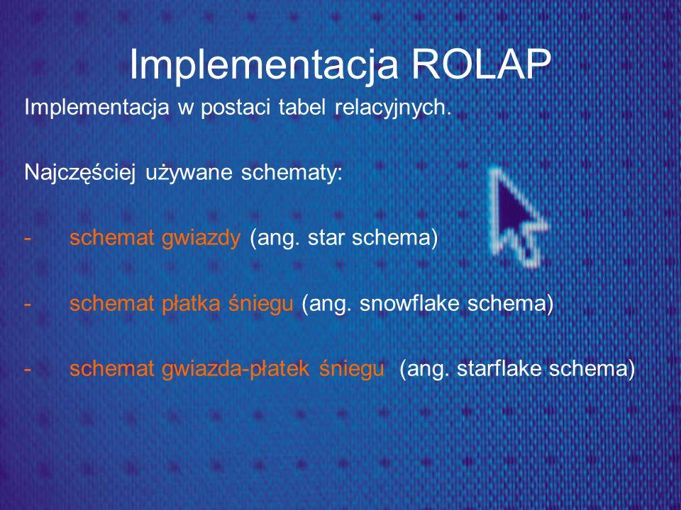 Implementacja ROLAP Implementacja w postaci tabel relacyjnych. Najczęściej używane schematy: -schemat gwiazdy (ang. star schema) -schemat płatka śnieg