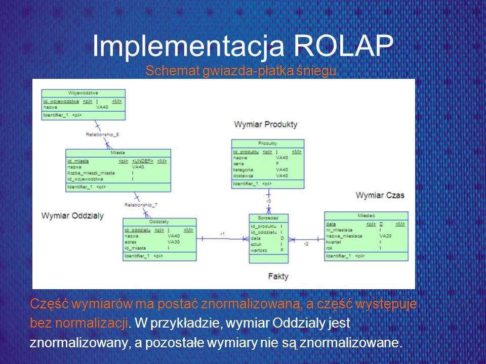 Implementacja ROLAP Schemat gwiazda-płatka śniegu Część wymiarów ma postać znormalizowaną, a część występuje bez normalizacji. W przykładzie, wymiar O