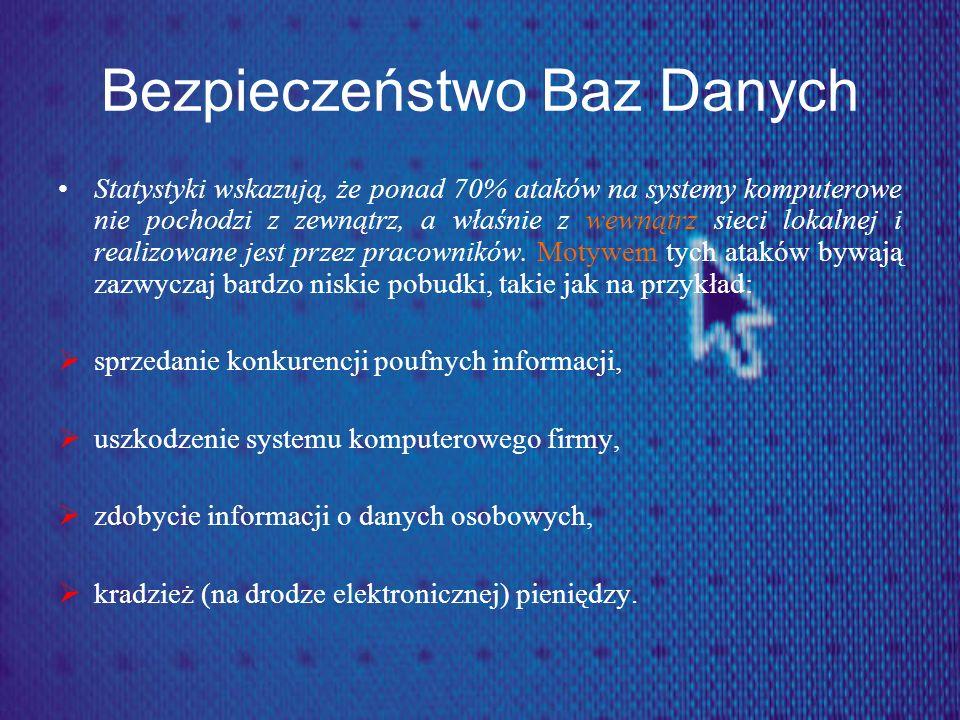 Bezpieczeństwo Baz Danych Do podstawowych zagrożeń dla informacji zawartej w bazach danych należą: Awarie, Niespójne transakcje zapisu i modyfikacji danych, Kradzież sprzętu komputerowego razem z zapisaną informacją, Nieuprawniony dostęp do informacji, Kradzież informacji przez nielegalne skopiowanie zawartości bazy danych.