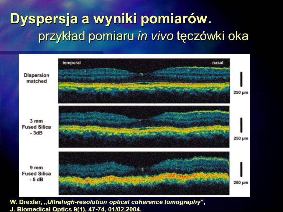 Dyspersja a wyniki pomiarów. przykład pomiaru in vivo tęczówki oka W. Drexler, Ultrahigh-resolution optical coherence tomography, J. Biomedical Optics