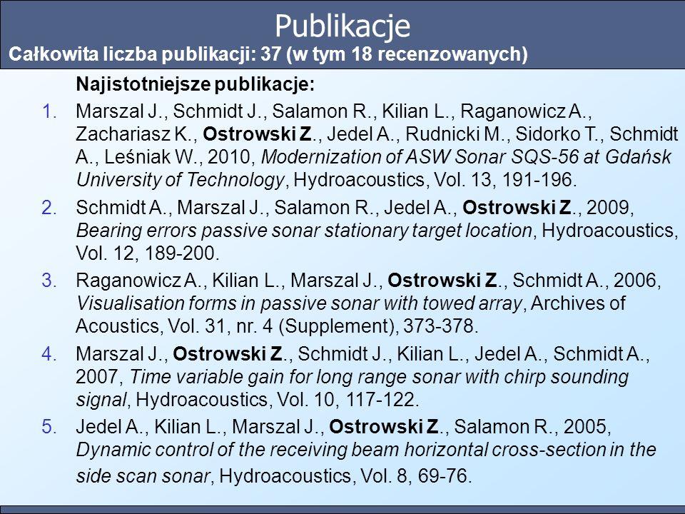 Publikacje Całkowita liczba publikacji: 37 (w tym 18 recenzowanych) Najistotniejsze publikacje: 1.Marszal J., Schmidt J., Salamon R., Kilian L., Ragan