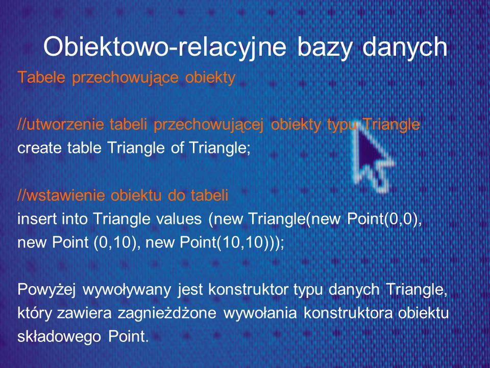 Obiektowo-relacyjne bazy danych Tabele przechowujące obiekty //utworzenie tabeli przechowującej obiekty typu Triangle create table Triangle of Triangl