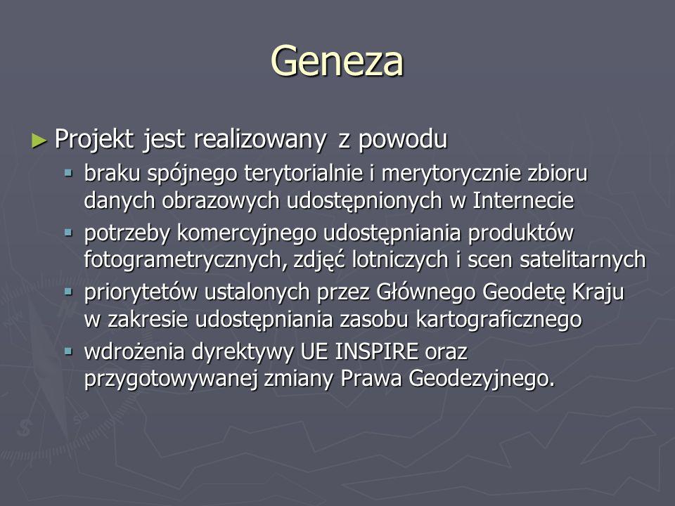 Geneza Projekt jest realizowany z powodu Projekt jest realizowany z powodu braku spójnego terytorialnie i merytorycznie zbioru danych obrazowych udost