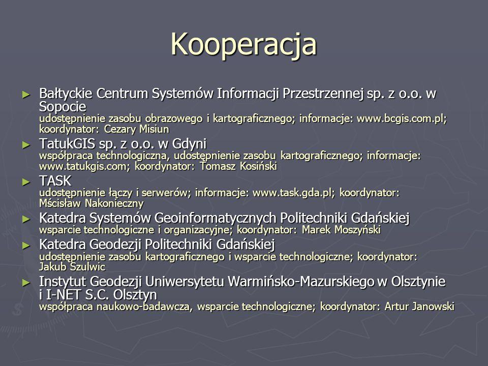 Kooperacja Bałtyckie Centrum Systemów Informacji Przestrzennej sp. z o.o. w Sopocie udostępnienie zasobu obrazowego i kartograficznego; informacje: ww