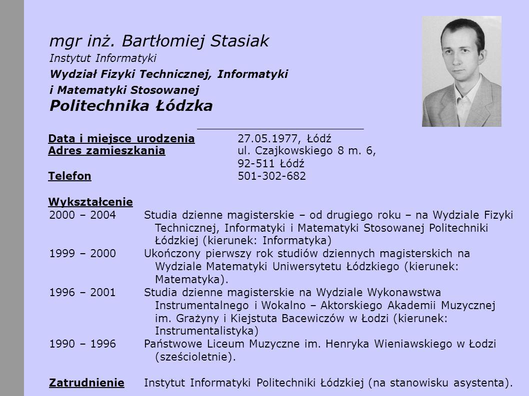 Działalność naukowa – publikacje [1] Stasiak, B., Yatsymirskyy, M.: Recursive Learning of Fast Orthogonal Neural Networks.