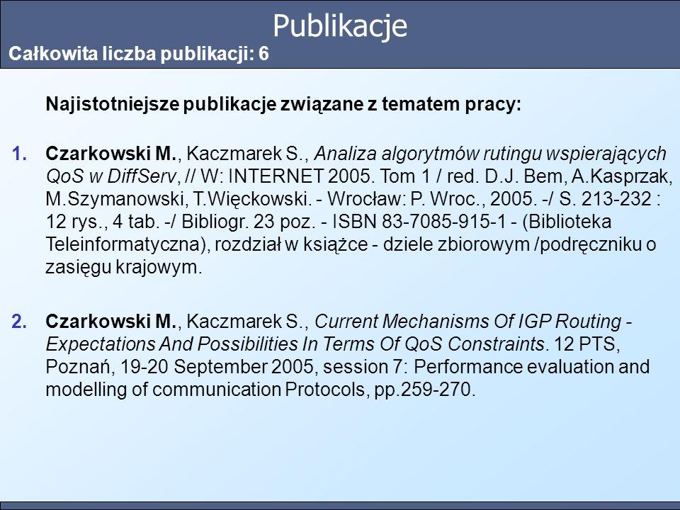 Efektywne mechanizmy rutingu wewnątrzdomenowego wspierające QoS Michał Czarkowski, KSTI życiorys publikacje temat pracy Najważniejszy cel pracy: 1.Propozycja modyfikacji mechanizmów rutingu (zarówno w ramach protokołu, jak i algorytmu rutingu), mających na celu zapewnienie użytkownikowi sieci żądanego QoS, z jednoczesną optymalizacją zasobów umożliwiającą ulokować więcej ruchu w sieci spełniającej SLA, bez konieczności przewymiarowania tej sieci.