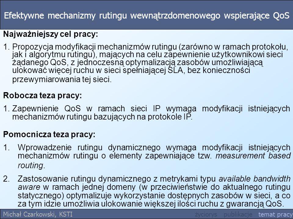 Efektywne mechanizmy rutingu wewnątrzdomenowego wspierające QoS Michał Czarkowski, KSTI życiorys publikacje temat pracy Najważniejszy cel pracy: 1.Pro