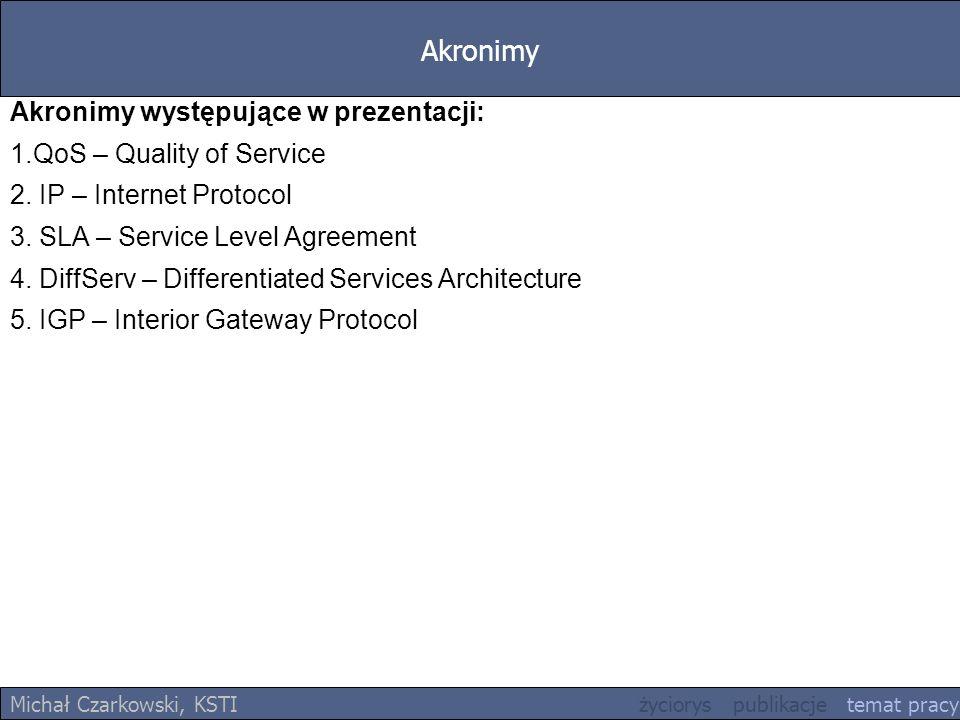 Akronimy Michał Czarkowski, KSTI życiorys publikacje temat pracy Akronimy występujące w prezentacji: 1.QoS – Quality of Service 2. IP – Internet Proto