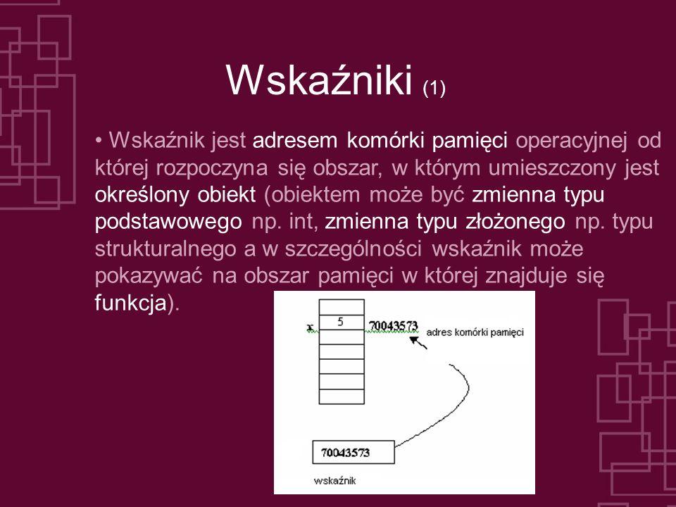 Wskaźniki (1) Wskaźnik jest adresem komórki pamięci operacyjnej od której rozpoczyna się obszar, w którym umieszczony jest określony obiekt (obiektem może być zmienna typu podstawowego np.