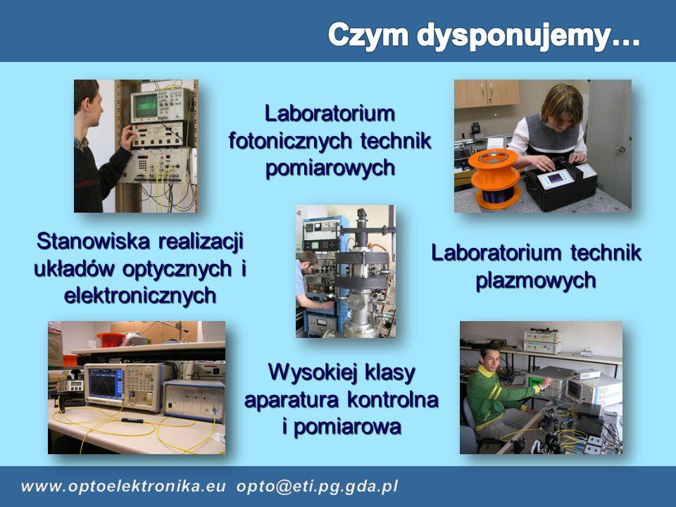 Laboratorium fotonicznych technik pomiarowych Wysokiej klasy aparatura kontrolna i pomiarowa Laboratorium technik plazmowych Stanowiska realizacji układów optycznych i elektronicznych