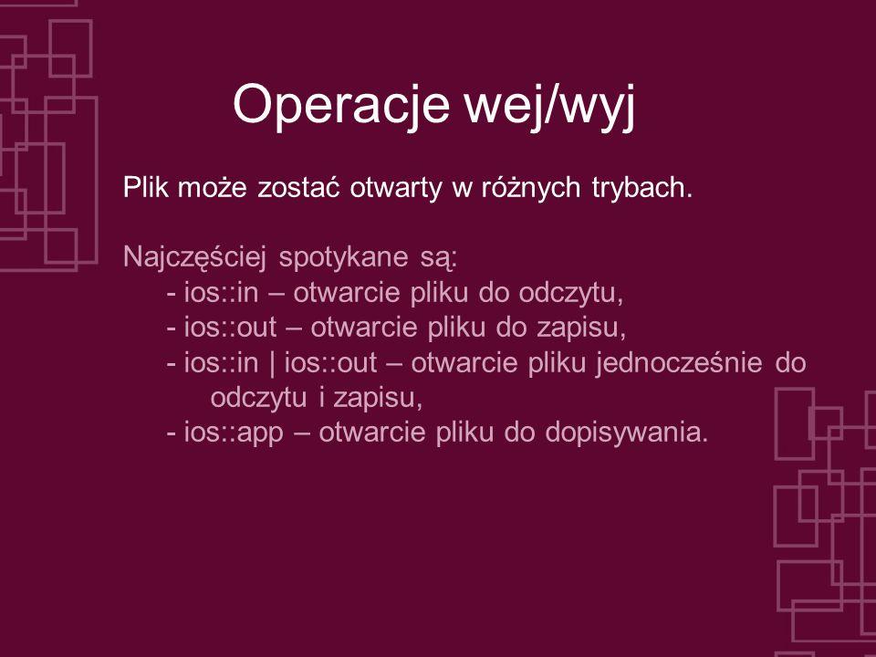 Operacje wej/wyj Plik może zostać otwarty w różnych trybach.