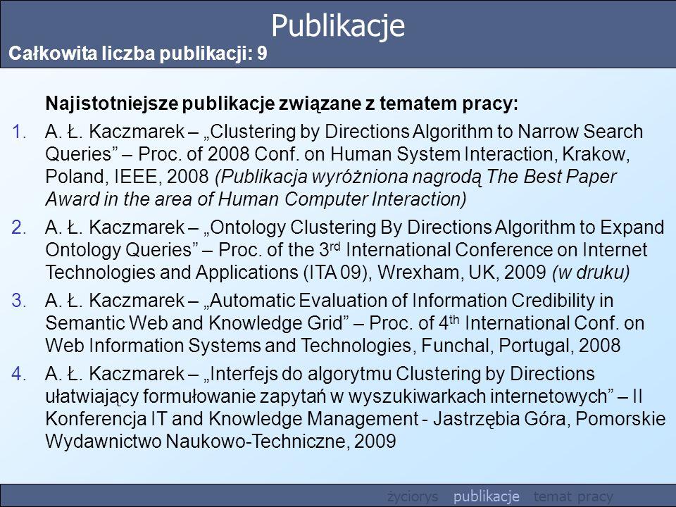 Publikacje Całkowita liczba publikacji: 9 Najistotniejsze publikacje związane z tematem pracy: 1.A. Ł. Kaczmarek – Clustering by Directions Algorithm
