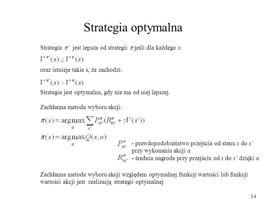 14 Strategia optymalna Strategia jest lepsza od strategii jeśli dla każdego s: oraz istnieje takie s, że zachodzi: Strategia jest optymalna, gdy nie m