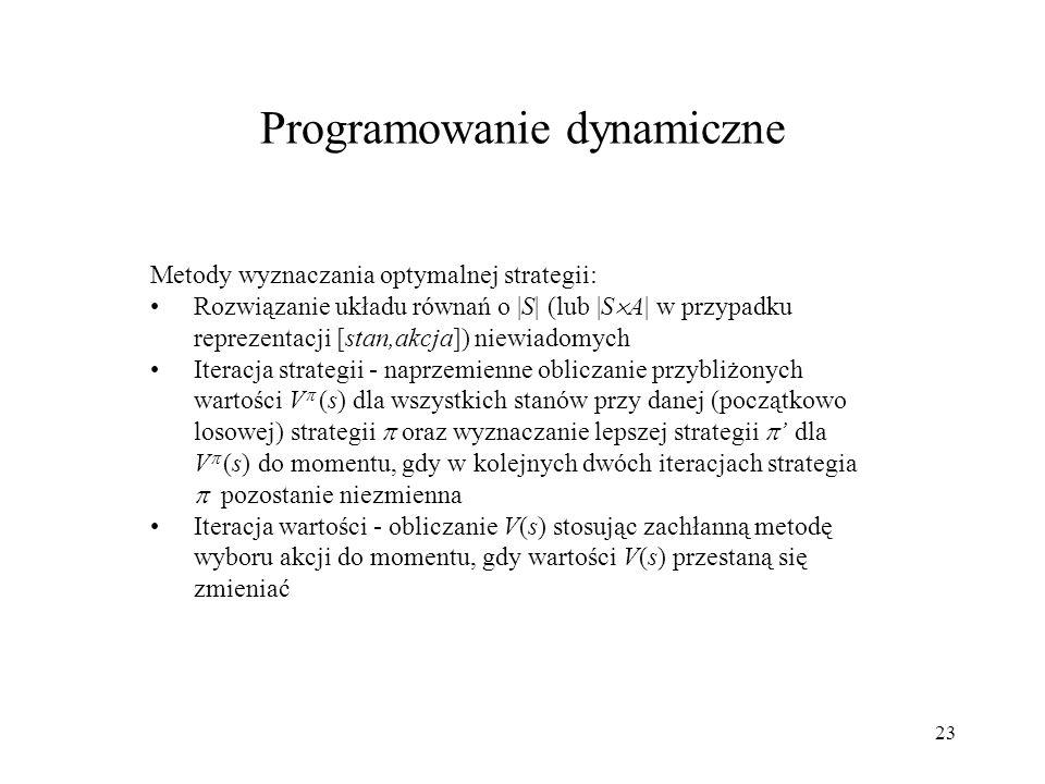 23 Metody wyznaczania optymalnej strategii: Rozwiązanie układu równań o |S| (lub |S A| w przypadku reprezentacji [stan,akcja]) niewiadomych Iteracja s