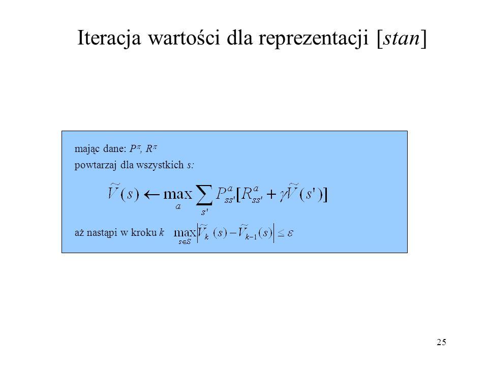 25 Iteracja wartości dla reprezentacji [stan] powtarzaj dla wszystkich s: mając dane: P, R aż nastąpi w kroku k