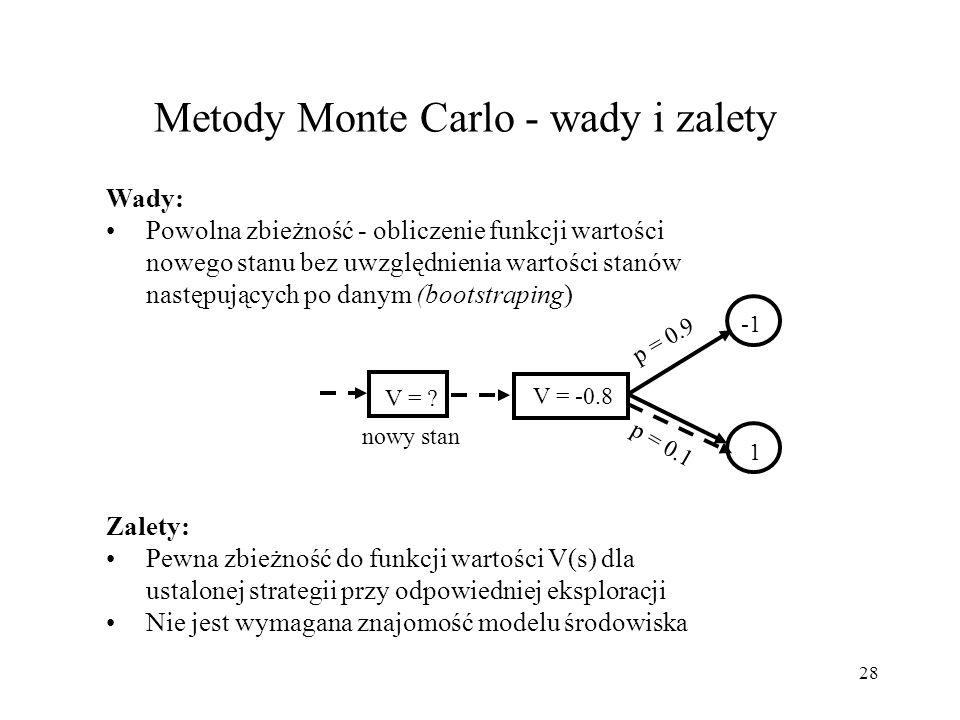 28 Metody Monte Carlo - wady i zalety V = ? V = -0.8 1 p = 0.9 p = 0.1 nowy stan Wady: Powolna zbieżność - obliczenie funkcji wartości nowego stanu be