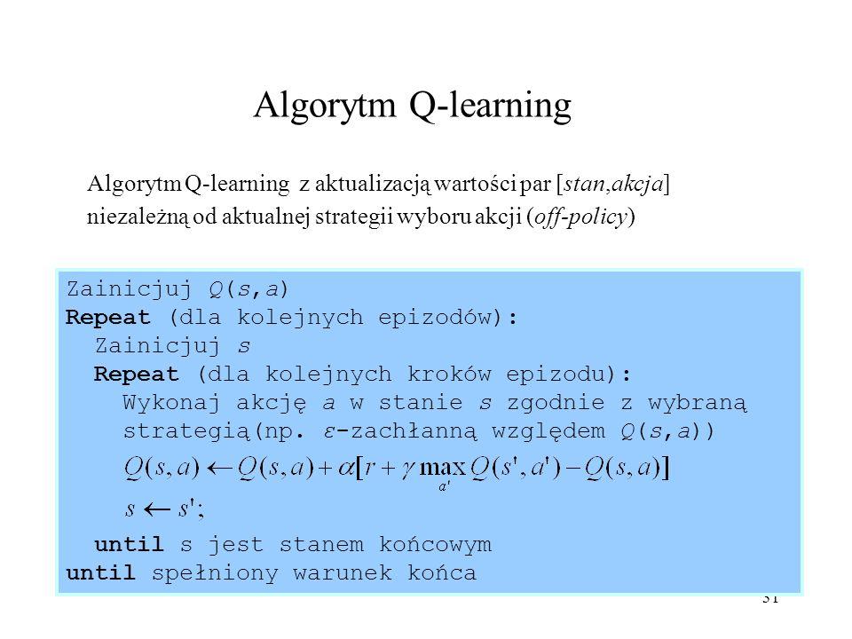 31 Algorytm Q-learning Algorytm Q-learning z aktualizacją wartości par [stan,akcja] niezależną od aktualnej strategii wyboru akcji (off-policy) Zainic