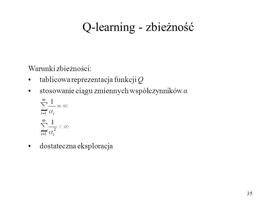 35 Warunki zbieżności: tablicowa reprezentacja funkcji Q stosowanie ciągu zmiennych współczynników α dostateczna eksploracja Q-learning - zbieżność