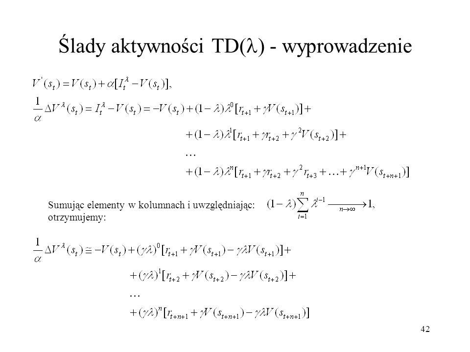 42 Ślady aktywności TD( ) - wyprowadzenie Sumując elementy w kolumnach i uwzględniając: otrzymujemy: