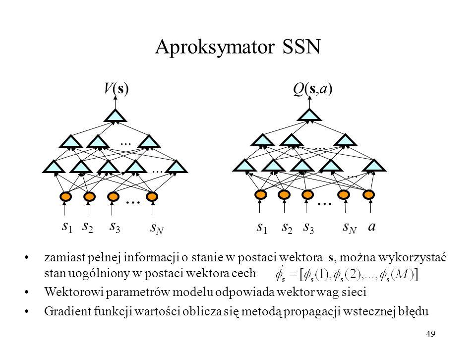 49 zamiast pełnej informacji o stanie w postaci wektora s, można wykorzystać stan uogólniony w postaci wektora cech Wektorowi parametrów modelu odpowi