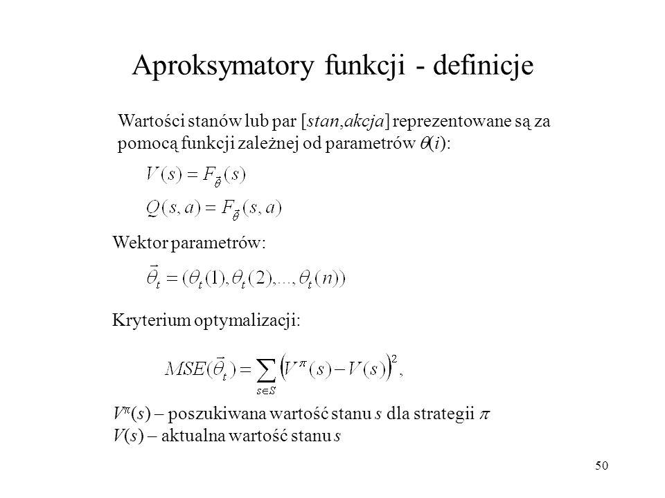 50 Aproksymatory funkcji - definicje Wektor parametrów: Kryterium optymalizacji: V (s) – poszukiwana wartość stanu s dla strategii V(s) – aktualna war