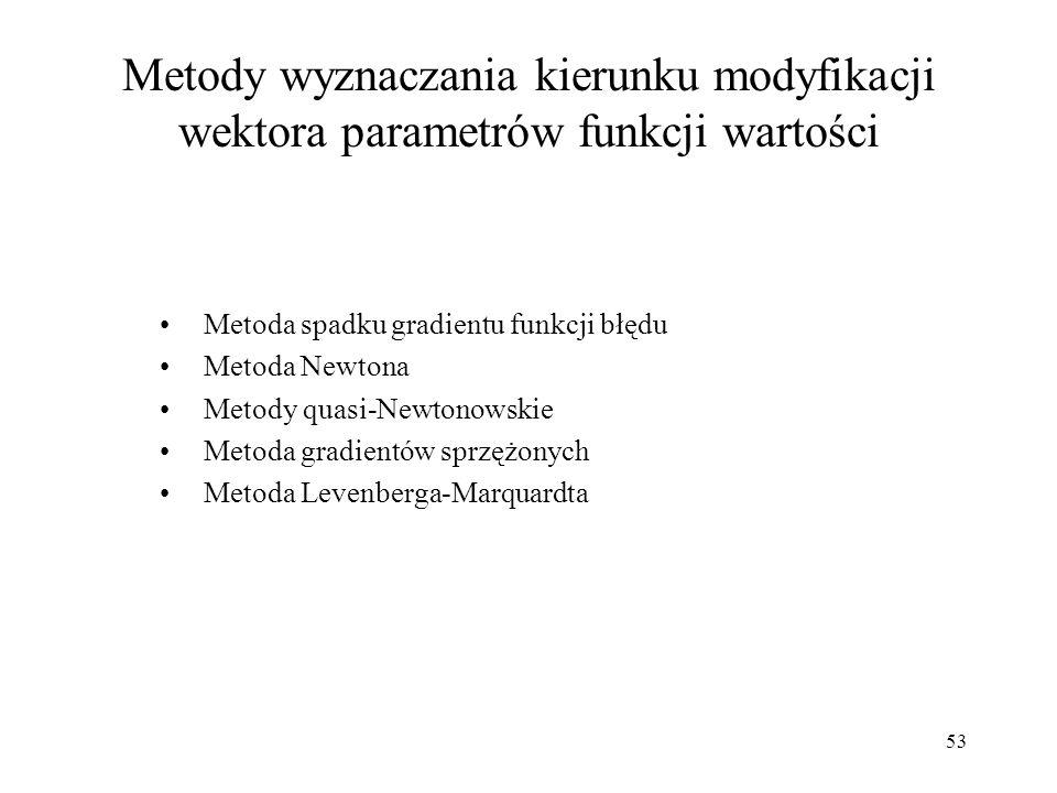 53 Metody wyznaczania kierunku modyfikacji wektora parametrów funkcji wartości Metoda spadku gradientu funkcji błędu Metoda Newtona Metody quasi-Newto