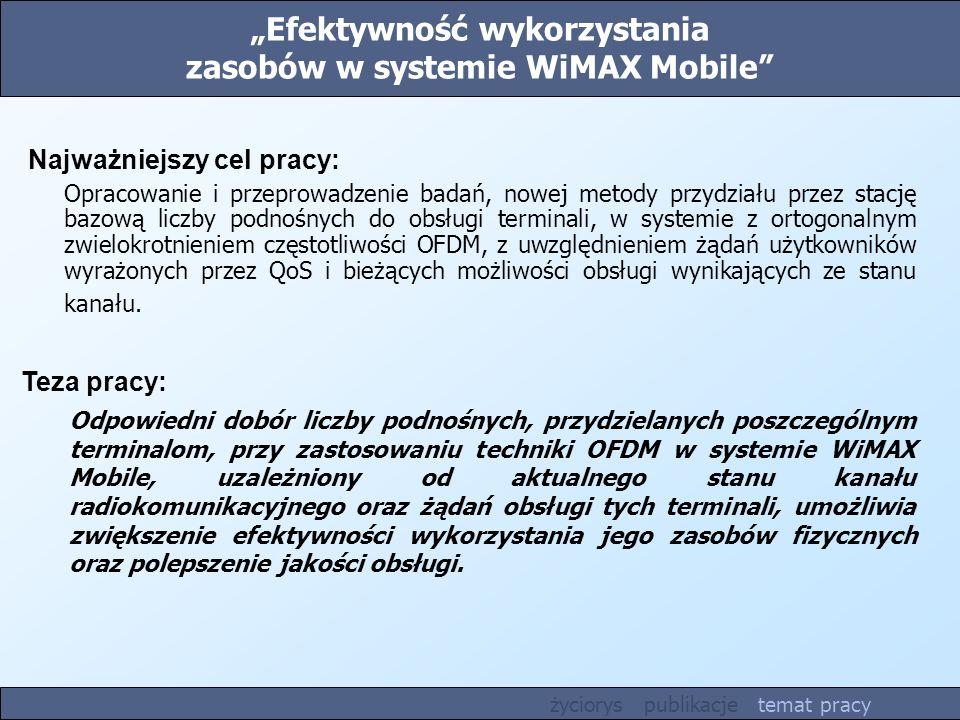 Efektywność wykorzystania zasobów w systemie WiMAX Mobile Teza pracy: Odpowiedni dobór liczby podnośnych, przydzielanych poszczególnym terminalom, prz