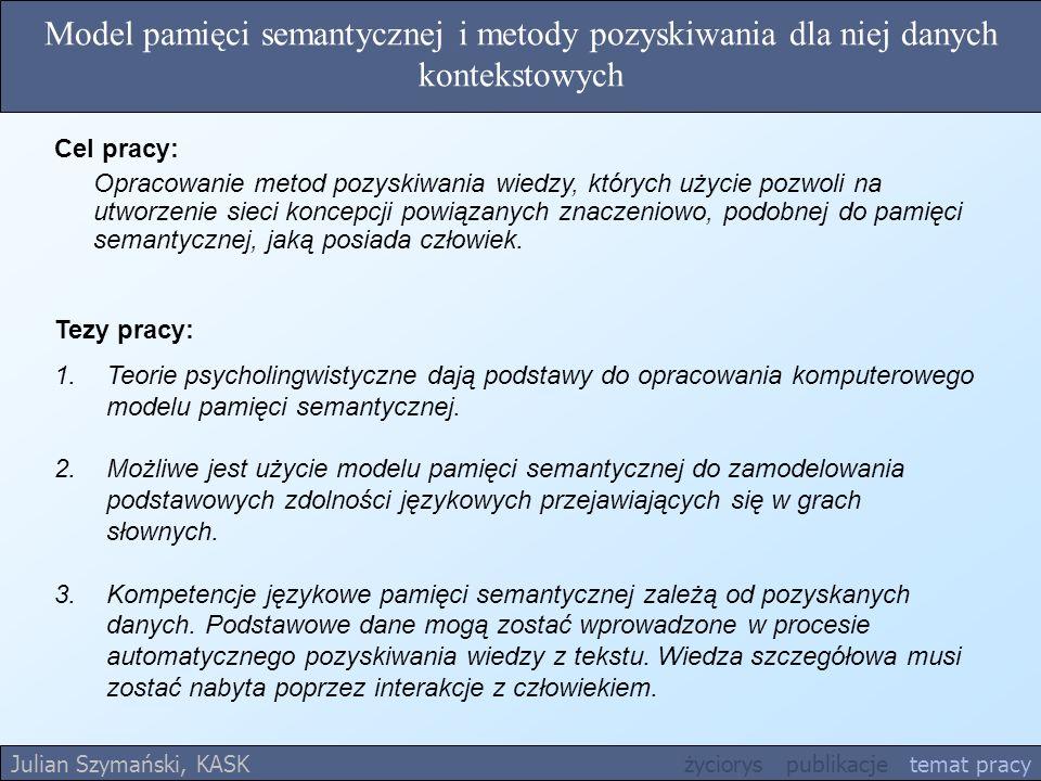 Model pamięci semantycznej i metody pozyskiwania dla niej danych kontekstowych Tezy pracy: 1.Teorie psycholingwistyczne dają podstawy do opracowania k
