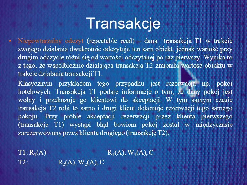 Transakcje Niepowtarzalny odczyt (repeatable read) – dana transakcja T1 w trakcie swojego działania dwukrotnie odczytuje ten sam obiekt, jednak wartoś
