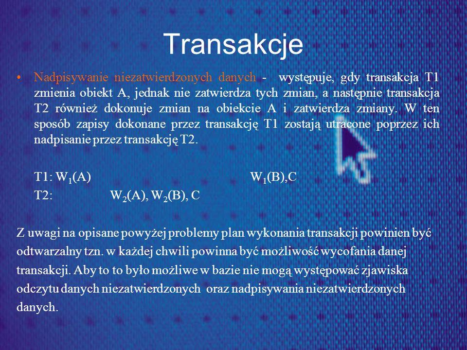 Transakcje Nadpisywanie niezatwierdzonych danych - występuje, gdy transakcja T1 zmienia obiekt A, jednak nie zatwierdza tych zmian, a następnie transa