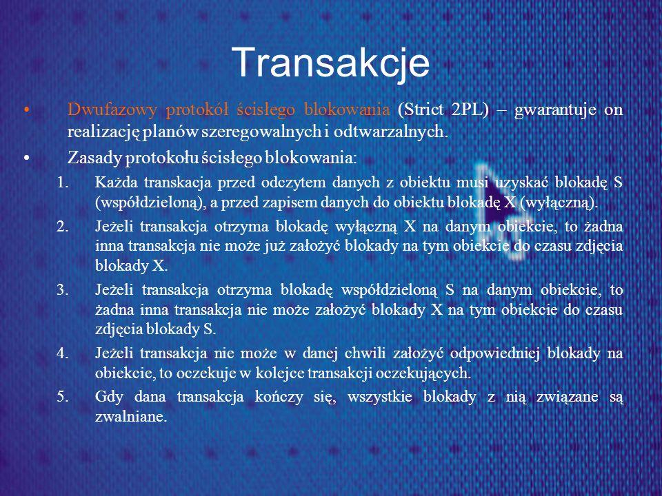 Transakcje Dwufazowy protokół ścisłego blokowania (Strict 2PL) – gwarantuje on realizację planów szeregowalnych i odtwarzalnych. Zasady protokołu ścis