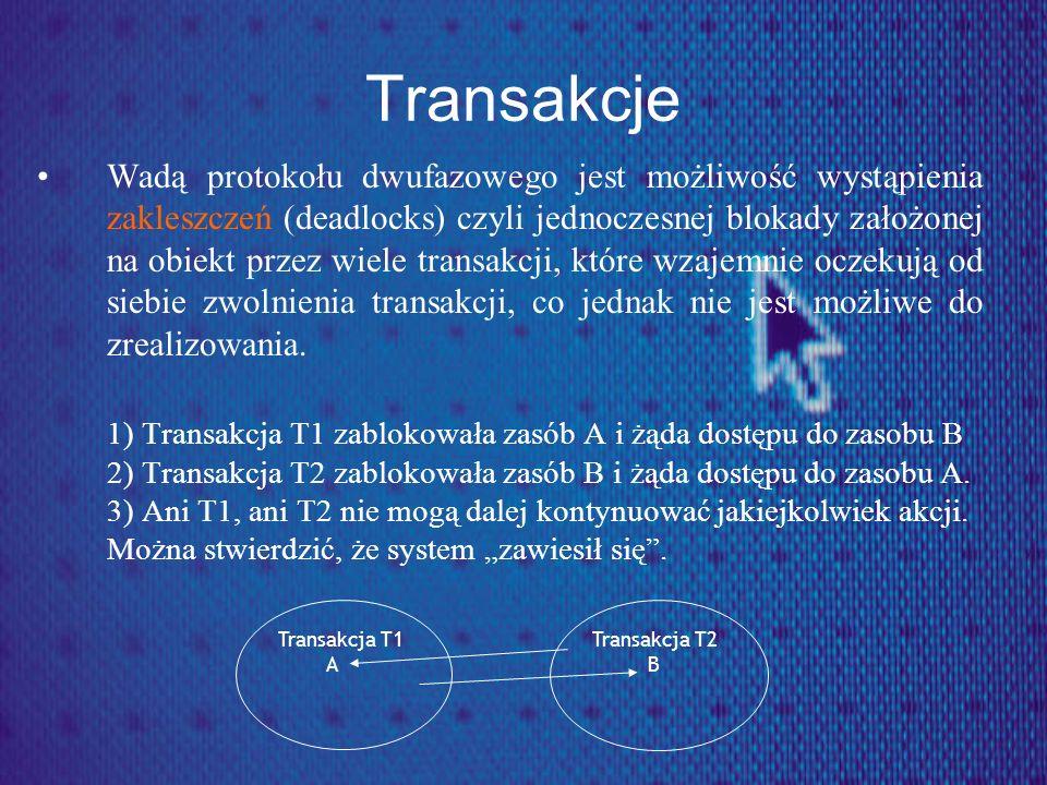 Transakcje Wadą protokołu dwufazowego jest możliwość wystąpienia zakleszczeń (deadlocks) czyli jednoczesnej blokady założonej na obiekt przez wiele tr