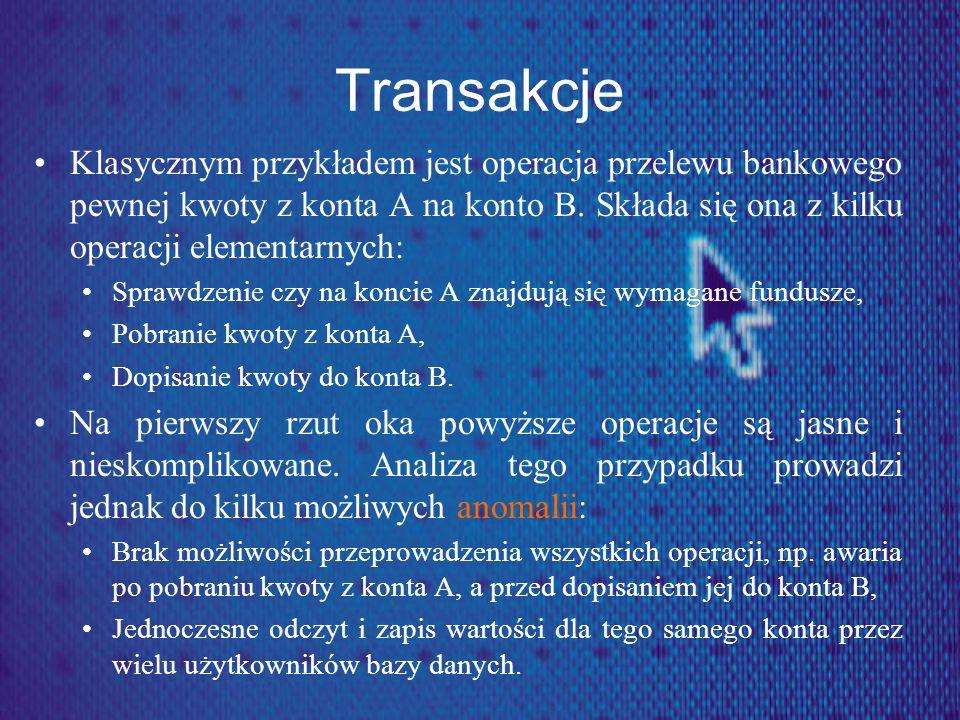 Transakcje Klasycznym przykładem jest operacja przelewu bankowego pewnej kwoty z konta A na konto B. Składa się ona z kilku operacji elementarnych: Sp