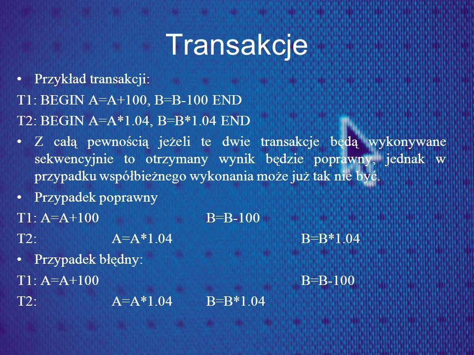 Transakcje Przykład transakcji: T1: BEGIN A=A+100, B=B-100 END T2: BEGIN A=A*1.04, B=B*1.04 END Z całą pewnością jeżeli te dwie transakcje będą wykony