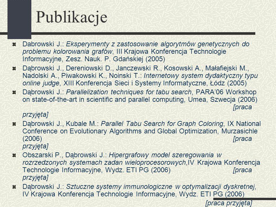 Publikacje Dabrowski J.: Eksperymenty z zastosowanie algorytmów genetycznych do problemu kolorowania grafów, III Krajowa Konferencja Technologie Infor