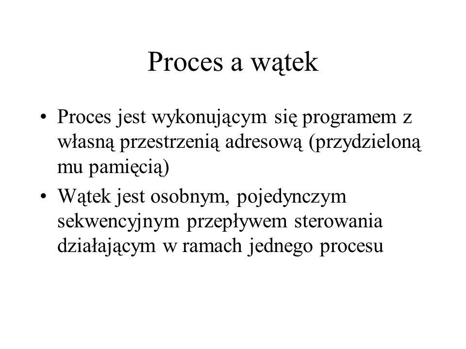 Proces a wątek Proces jest wykonującym się programem z własną przestrzenią adresową (przydzieloną mu pamięcią) Wątek jest osobnym, pojedynczym sekwenc