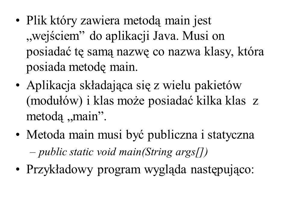 Plik który zawiera metodą main jest wejściem do aplikacji Java. Musi on posiadać tę samą nazwę co nazwa klasy, która posiada metodę main. Aplikacja sk