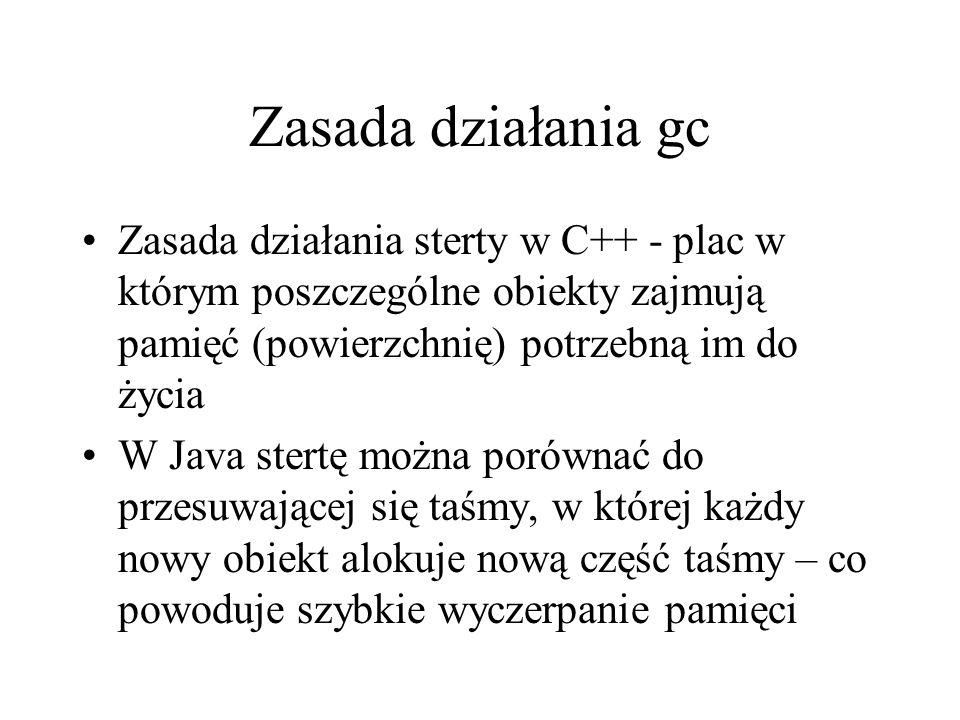 Zasada działania gc Zasada działania sterty w C++ - plac w którym poszczególne obiekty zajmują pamięć (powierzchnię) potrzebną im do życia W Java ster