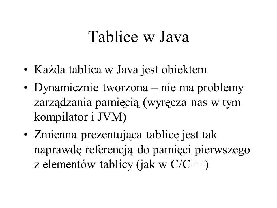Tablice w Java Każda tablica w Java jest obiektem Dynamicznie tworzona – nie ma problemy zarządzania pamięcią (wyręcza nas w tym kompilator i JVM) Zmi